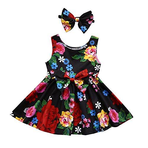 Robe de Princesse Fille,Manadlian Robe de Princesse Florale de BéBé Enfants Fille + Ensemble de Vêtements Soeur Costume Bandeau 2-6 Ans (Multicolore, 18 M)