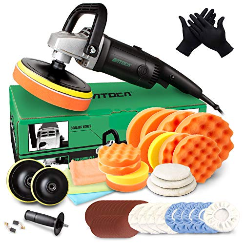 BATOCA Buffer Polisher, 7 Inch 180mm/1200W Rotary Car Polisher, Wax Machine, Car Detailing Kit, 6 Variable Speeds Up to 3000 RPM with Foam Pads, Wool Pads for Car Buffers and Polishers