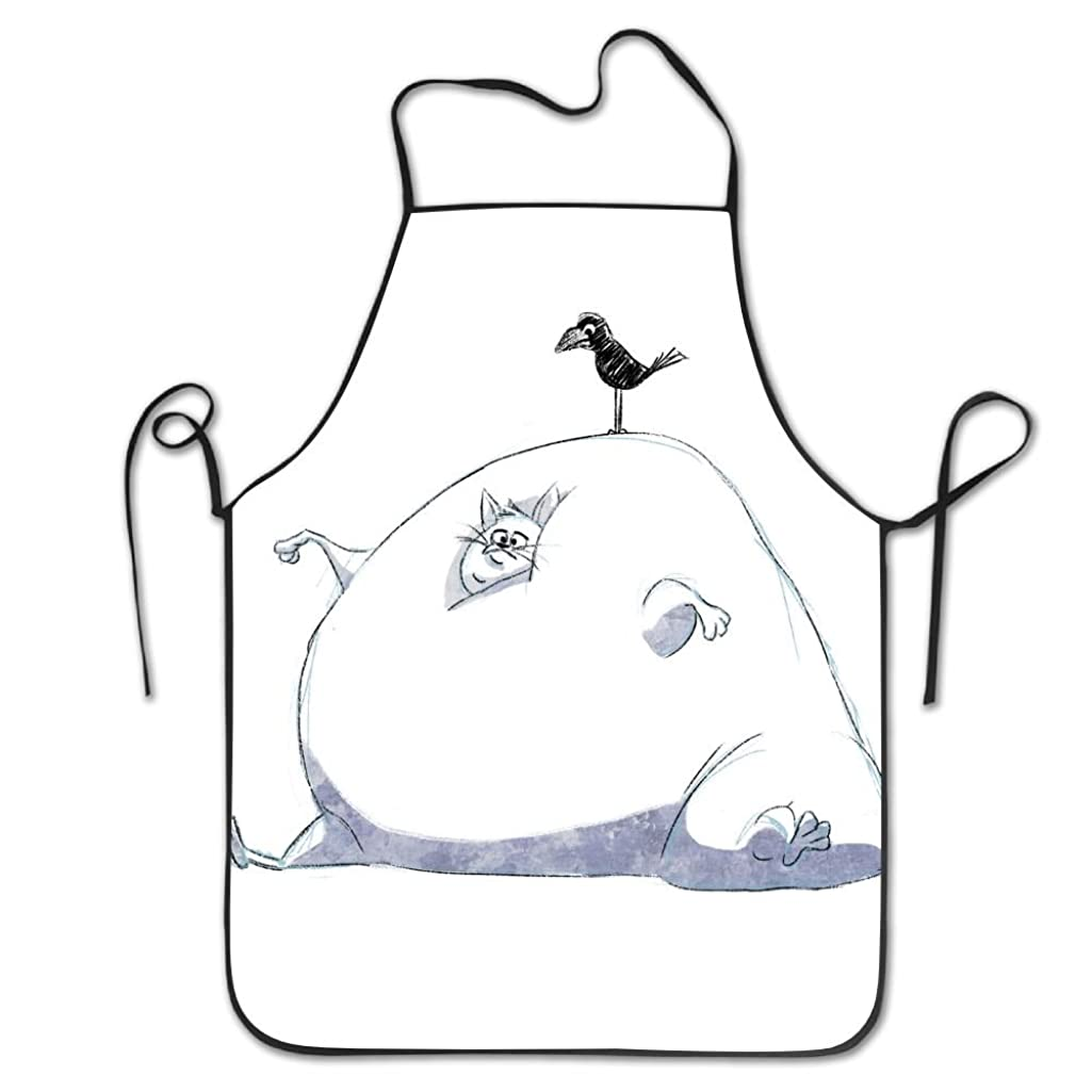 Yisliferunaz Cute Cat And Bird Aprons Bib Unisex Lace Adjustable Polyester Chef Cooking Long Full Kitchen Aprons For Outdoor Restaurant Cleaning Serving Crafting Gardening Baking BBQ Grill