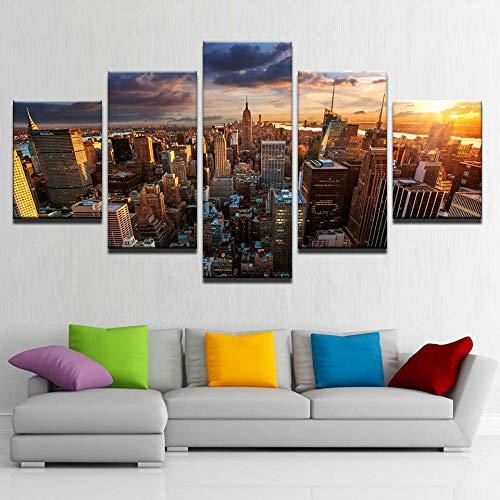 QQWW Cuadro en Lienzo New York Skyline Empire State Building al Atardecer 200x100cm - XXL Impresión Material Tejido no Tejido Artística Imagen Gráfica Decoracion de Pared - 5 Piezas
