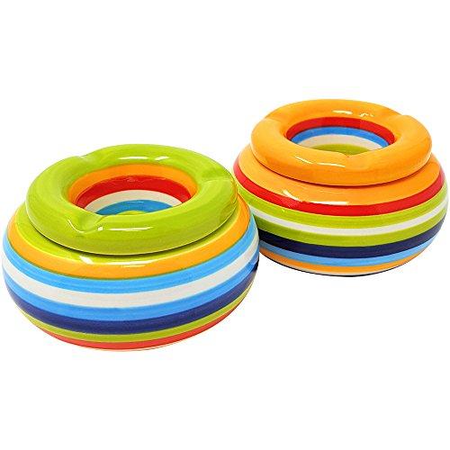 com-four® Set di 2 posacenere a Vento Realizzati con la Migliore Ceramica in Verde e Arancione, ciascuno con Strisce Colorate (02 Pezzi - Mix2)