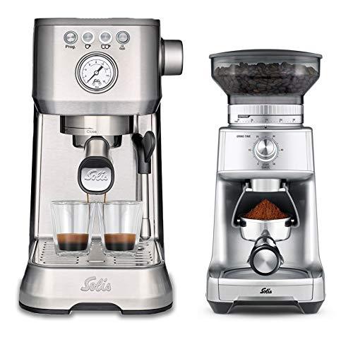 Die Solis Barista Perfetta plus 1170 Edelstahl + Caffissima 1611, geeignet für jede Art von Kaffee: Kaffeebohnen, Schoten und gemahlener Kaffee, Milchschaummethode: Dampfstab