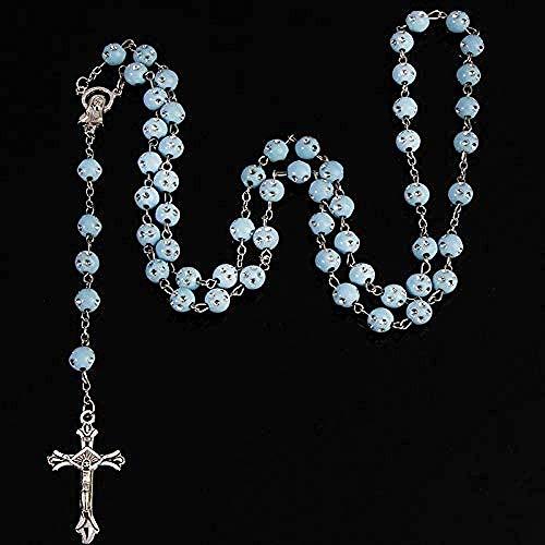 Collar para Mujer Collar para Hombre Collar con Colgante Collar de Rosario Católico Estrellado de 8Mm Collar de Perlas de Imitación Redondas El Centro de la Virgen y la Cruz del Collar Colgante Rega