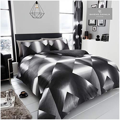 Gaveno Cavailia Parure de lit avec Housse de Couette et taie d'oreiller - Motifs rectangulaires, Noir/Gris, King