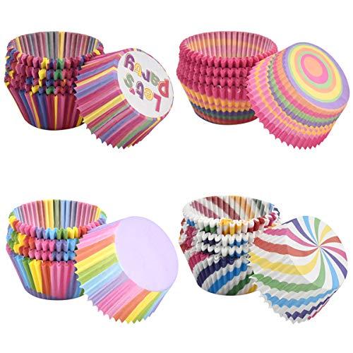 Dokpav 400 Stücke Muffin Förmchen, Regenbogen Papier Cupcake Wrapper Papier Fällen Liners Backförmchen für Hochzeit Geburtstag Party Baby Shower