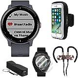 Garmin Vivoactive 3 Music GPS Smartwatch w/Deco Gear Runner Bundle - Blue+Rose Gold