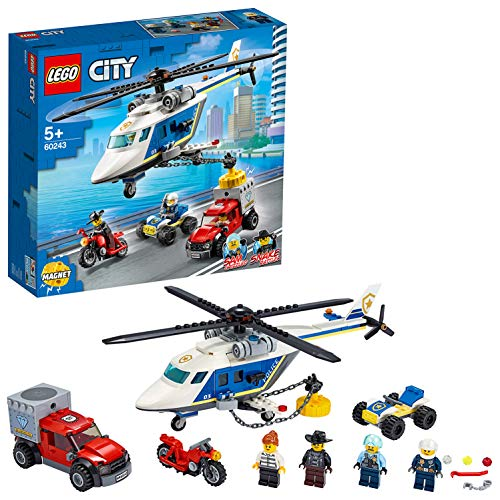 LEGO City 60243 Police Helicopter Chase Toy with ATV Quad Bike, Motorbike and Truck, Building Set for 5+ Year Old