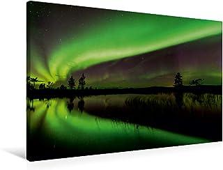 Premium - Lienzo de tela (90 cm x 60 cm, horizontal, imagen sobre bastidor, imagen sobre lienzo auténtico, impresión sobre lienzo, imagen clara se refleja en un lago (CALVENDO Natur);CALVENDO Natur