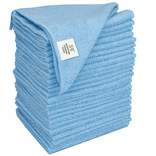 S&T INC. 958101 Microfiber Cleaning Cloths, Reusable and Lint-Free Towels for Home, Kitchen and Auto, 25 Pack, Light Blue