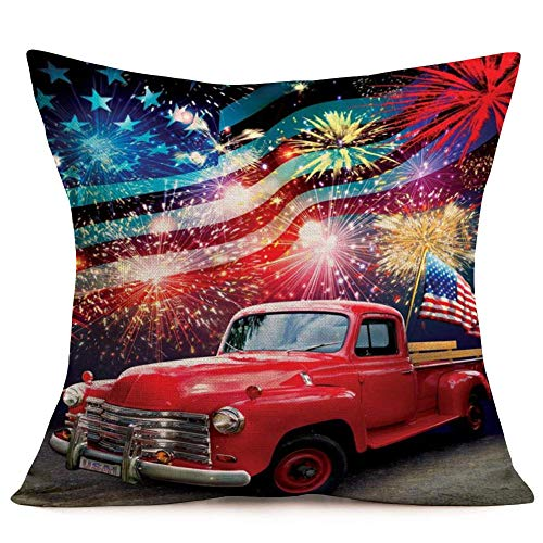 WXM Happy Independence Day Pillow Cases Fireworks Red Truck with American Flag Pillow Covers American Patriotic Farmhouse Cotton Linen Throw Pillow Case Cushion Cover 18' X 18'