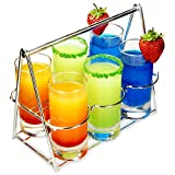 bar@drinkstuff Schnapsgläser-Korb, 7-teilig, aus Edelstahl, mit 6 hohen Gläsern.