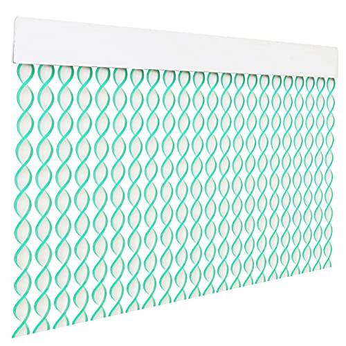 HOME MERCURY – Cortina espiral para puerta exterior o interior, material PVC – libre de insectos (200x90CM, Blanco+Filo Verde R10)