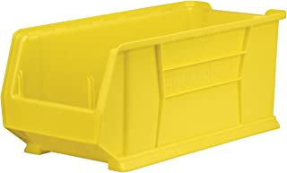 Akro-Mils 30287 24-Inch D by 11-Inch W by 10-Inch H Super Size Plastic Stacking Storage Akro Bin, Yellow, Case of 4