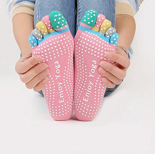Veewon Set di 4paia di calzini antiscivolo con dita, da donna, ideali per yoga e pilates, colori casuali