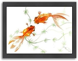 """Americanflat Feng Shui Goldfish Koi 2 Black Frame Print by Suren Nersisyan, 9"""" x 11"""" x 1"""""""