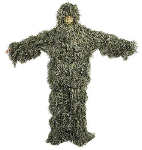 YuanDian Niño Ghillie Trajes 3D Hojas Woodland Camuflaje Ropa Ejército al Aire Libre Ropa Militar Camo para Selva Caza Airsoft Silvestre Halloween Conjuntos De 5 Piezas para 110-150 CM