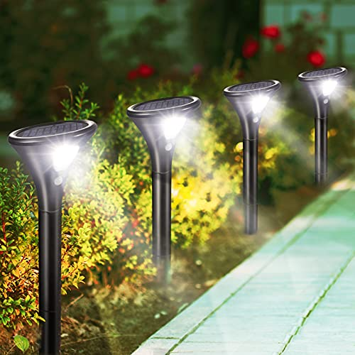 Litake Solarlampen für Außen,4 Stück Solar Gartenleuchte 2 Modi Solarleuchten mit Bewegungsmelder Wegeleuchte IP65 Wasserdichte Auto Ein/Aus Landschaftslichter Aussenlicht für Garten/Patio/Rasen/Pfad