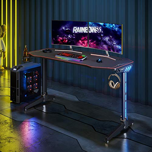 ELEGANT Gaming Desks for pc with Lights 140x60cm Office PC Computer Gaming Desk Gamer Tables Pro with RGB Lights,Controller Stand, Headphone Hook and Full XL Mouse pad Gaming Table LED Black
