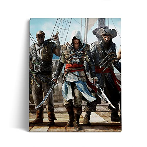 ABUKJM 5D Diamond Painting Set Assassin's Creed 4: Black Flag Movie Poster DIY Diamond Painting Bilder Set Diamant Malerei Malen Nach Zahlen Full Drill Kristall Set 30x40cm,Ohne Rahmen