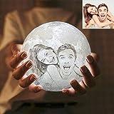 Foto personalizada Lampara Luna 3D LED Moon Lamp,Lámpara magica de Luna, Control Táctil, Recargable de USB,Lámpara para Decoración Habitación, Regalo de Cumpleaños, Año Nuevo y Aniversario(4.7in/12cm)
