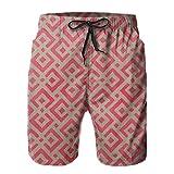 HARLEY BURTON Pantalones cortos de natación para hombre, diseño de cuadros rojos, secado rápido, para surf, playa, con cordón ajustable
