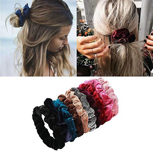 10 Stück Haargummis,Bunte Samtgummis, elastisch Haargummis für Damen und Mädchen