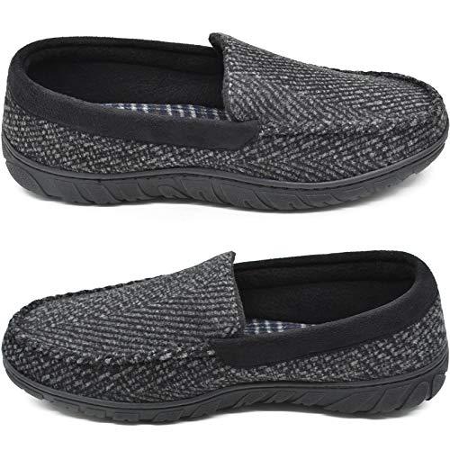 zapatillas de mocasín de espuma viscoelástica para hombre zapatos de casa sin cordones con suela de goma para interiores y exteriores Negro Talla 46