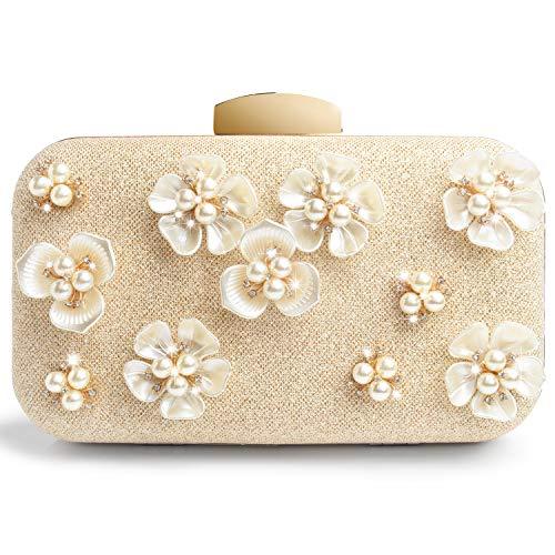 Borsetta da donna con frizione di nozze, per donna, glitter, fiore, perlata, perlata-Oro