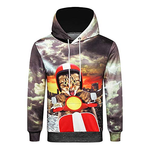 HUIYIYANG Tees Creative 2018 Cat-Driving 3D Printed Oversize Hooded Hoodie for Men's Fallow Autumn/Winter Y711 XL