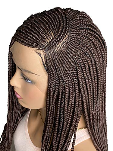 JBG SERVICES Authentic African Braided Wigs - Nnena Twirl Braid Wig for African American Women - 13X6 Box Braid Lace Frontal Closure Wig - 2 Hair Pins Included Color 33 Dark Auburn 22 Inch