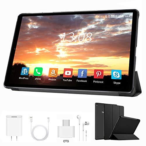Tablet 10 Pulgadas Buenas 4 GB RAM+64GB ROM /128GB Android 9.0 Ultrar-Rápido Tablets 4G Dual SIM / WiFi 8000mAh Batería Quad Core (GPS, Bluetooth, OTG, Netfilix,Type-C) - Certificación Google GMS