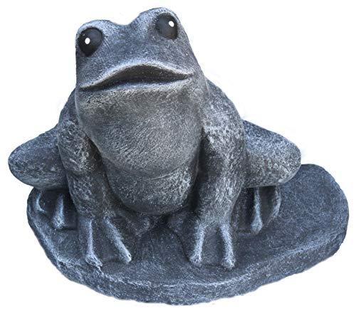 Steinfigur Frosch, 128/1 Gartenfigur Steinguss Tierfigur Basaltgrau