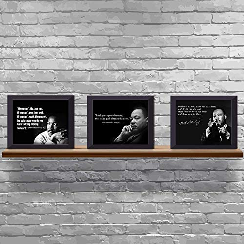 """Martin Luther King Jr.- Quotes Wall Art Trio Set- 8 x 10's"""" (3) Vintage Art Wall Prints- Ready to Frame. Inspirational Home Décor-Office Décor. MLK Jr. Famous Quotes- Love-Character-Keep Moving."""