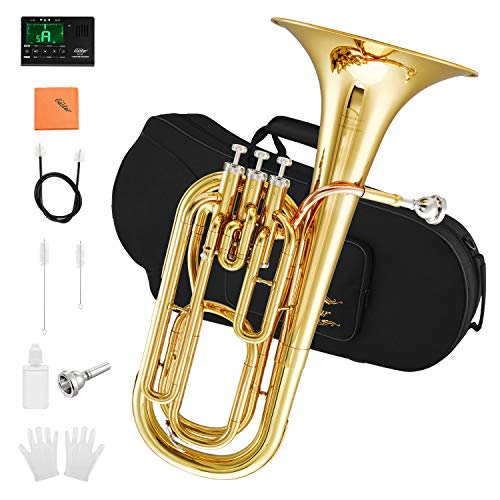Eastar Student Bb Baritone Horn Marching Gold Lacquer B Flat with Tuner Hard Case Baritone Mouthpiece Gloves Valve Oil Baritone Cleaning Kit, EBT-380