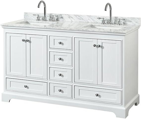 Wyndham Collection Deborah 60 Inch Double Bathroom Vanity In White White Carrara Marble Countertop Undermount Square Sinks And No Mirror Amazon Com