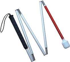 VISIONU Aluminio Baston Blanco para Ciegos y Baja Vision Plegable, 5 Secciones