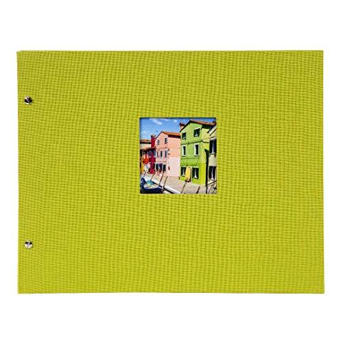 Goldbuch Schraubalbum mit Fensterausschnitt, Bella Vista, 39 x 31 cm, 40 schwarze Seiten mit Pergamin-Trennblättern, Erweiterbar, Leinen, Grün, 28976