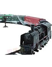 Set de iniciacion para maquetas de trenes - Locomotora para modelismo ferroviario - Locomotoras a vapor con vagones - 25 partes - Sonido, luz y humo