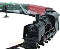Railway set elettricamente - locomotiva a vapore, 4 carri, suono, luce e fumo - Locomotiva elettrica - 25 parti