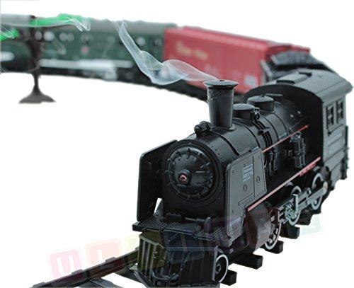 BSD Eisenbahn elektrisch Set - Dampflokomotive, 4 Wagen, Sound, Licht und Rauch - Elektrische Lokomotive - 25 Teile