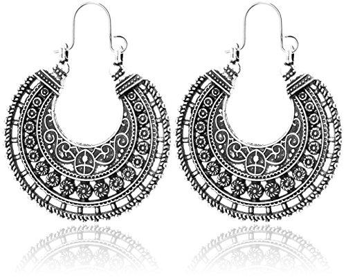 2LIVEfor Traumhafte Ohrringe Ethno Gross Creolen verziert Ohrringe Bohemian Vintage Ohrringe lang Hängend Antik Style Silber Ornamente Rund Zeichen Formen & Symbole
