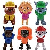 WENTS Paw Patrol Paquete de Juguetes 6 Mini Personajes Set Skye, Chase, Marshall, Rubble, Zuma und Rocky