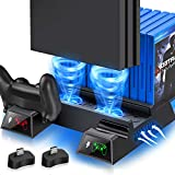 PS4 Cooling Fan Vertical Stand Cooling for PS4 Slim/ PS4 Pro/Regular PlayStation4, PS4 Controller Charger Station for Dual Charging, PS4 Accesossries with Game Storage for Playstation Consoles