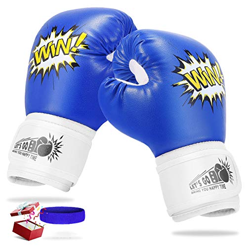 LetsGO toyz Regalos Niños 4 5 6 7 8 9 10 11 12 Años, Guantes Boxeo Niños 4oz Juguete Niña 3-12 Años Regalos de Cumpleanos 4-15 Años Juguetes para Chicos de 3-12 Años- Azul