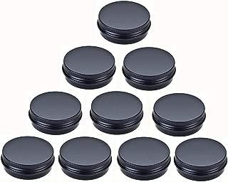 JKLcom Aluminum Metal Tin 1oz/30ml,Black Aluminum Tins Round Tin Cans Containers with Screw Top Lid (10)