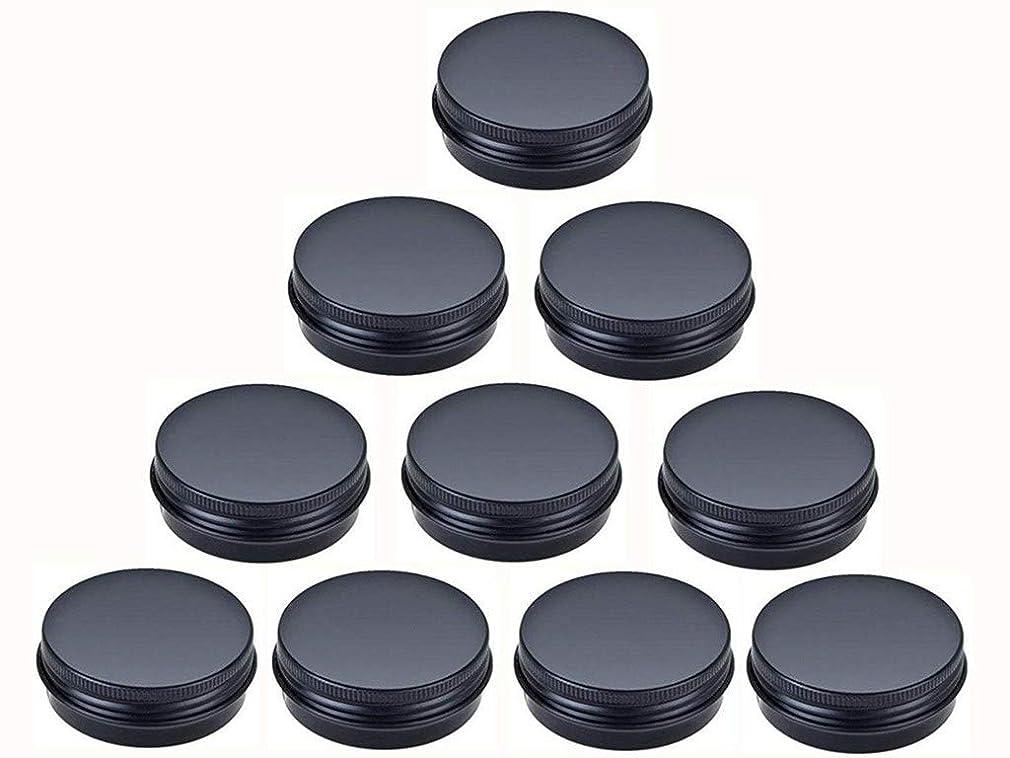 主婦スノーケル割り当てるjklcom Aluminum Metal Tin 1oz、ブラックアルミTins Round Tin缶コンテナwith Screw Top Lid