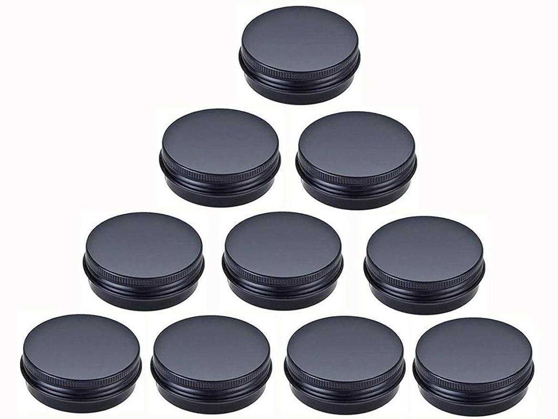 肺腫瘍先史時代のjklcom Aluminum Metal Tin 1oz、ブラックアルミTins Round Tin缶コンテナwith Screw Top Lid