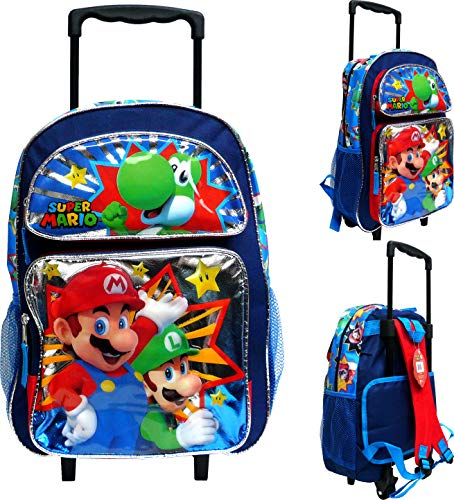 Ruz Super Mario 16' Large Rolling School Backpack Boy's Book Bag