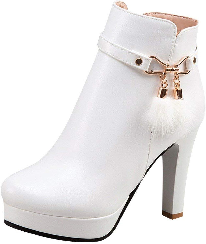 Ghssheh Women's Round Toe Zipper Platform Short Western Boots Black 4.5 M US
