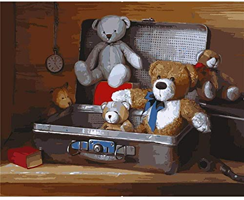 HCDZF DIY Oil Painting Paint by Number Kits Painting for Adults and Kids Arts Craft for Home Wall Decor-Teddy Bear in The Suitcase 40x50cm£¨Without Frame£